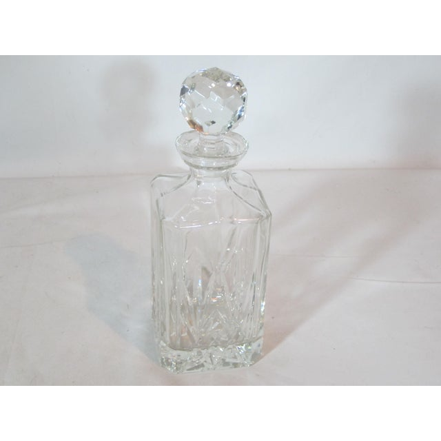 Crystal Faceted Square Decanter For Sale - Image 4 of 4