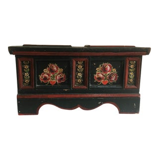 Antique Scandinavian/Norwegian Rosemaling Miniature Blanket Chest For Sale