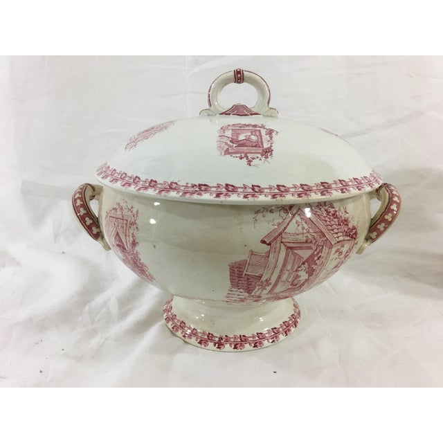 White Red and White Digoin & Sarreguemines Faience Dinner Set - Set of 26 For Sale - Image 8 of 13