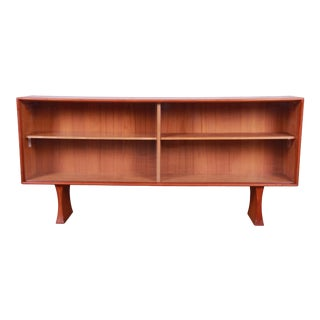 Danish Modern Teak Glass Front Credenza or Bookcase For Sale