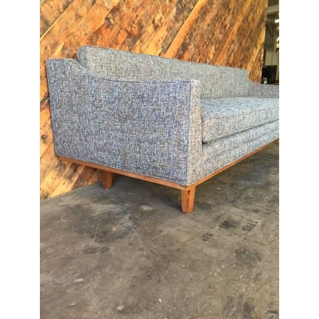 Mid Century Style Sofa With Walnut Trim For Sale - Image 4 of 8