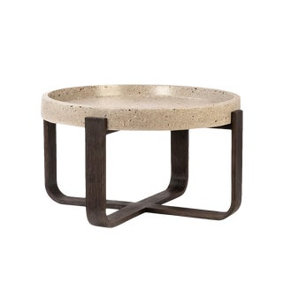 Round Terrazzo & Wood Coffee Table For Sale