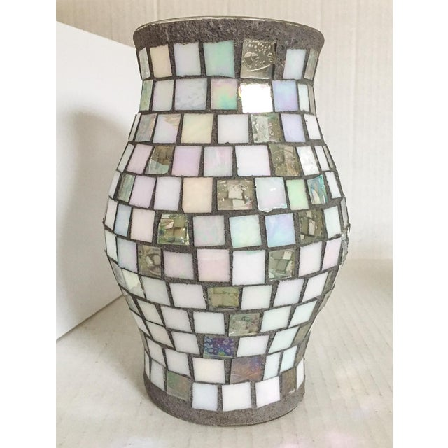 Silver & White Glass Mosaic Hurricane - Image 2 of 4