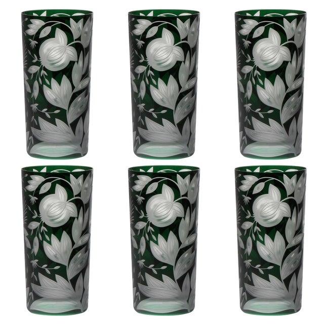 Artel Verdure Highball Glasses, Set of 6, British Racer Green For Sale - Image 4 of 4