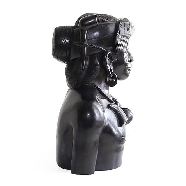 Hand-Carved Wood Bust Sculptures of Tribal Shaman Figures - A Pair For Sale - Image 10 of 11