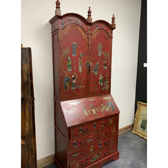 Lacquer 20th Century Chinoiserie Red Lacquered Bureau Bookcase For Sale - Image 7 of 13
