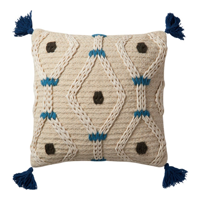 "Justina Blakeney X Loloi Ivory / Blue 22"" X 22"" Cover with Down Pillow For Sale"