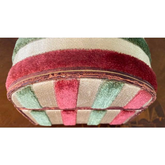 Pink Vintage Striped Fomerz Italy Leather, Satin, Velvet, Felt Domed Box For Sale - Image 8 of 12