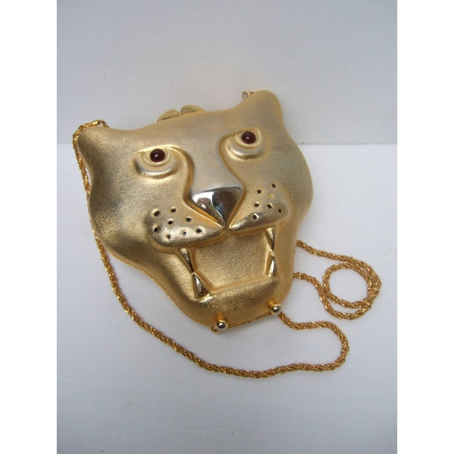 1970s Saks Fifth Avenue Gilt Metal Panther Evening Bag Made in Italy For Sale - Image 5 of 8