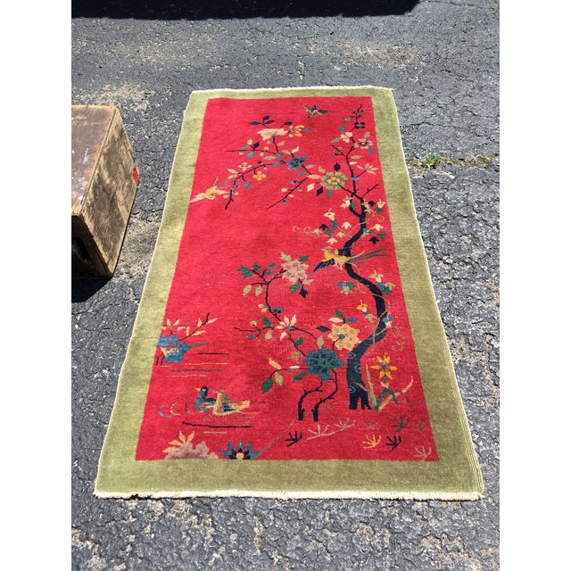 Chinese Art Deco Nichols Red and Green Rug - 2′11″ × 4′11″ For Sale - Image 12 of 12