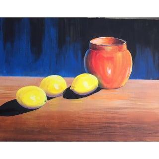 Original Lemon On A Table Acrylic Paint Preview
