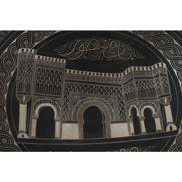 Moroccan Hanging Black Metal Tray From Meknes For Sale In Los Angeles - Image 6 of 9