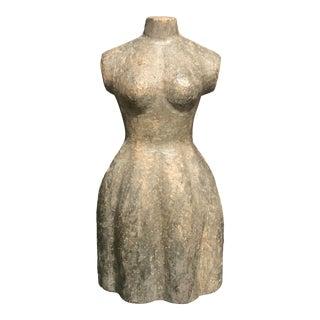 1920 Carved Solid Wooden Paper Mache Mold Female Torso Sculpture For Sale