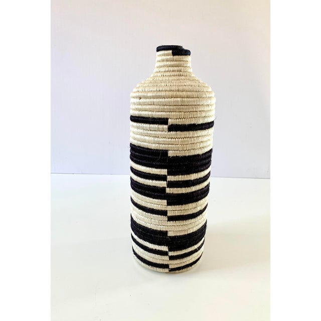 Boho Chic Black and White Striped Woven Vase For Sale - Image 3 of 7