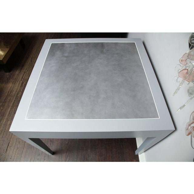 Metallic Grey Leather and Lacquer Game Table For Sale In New York - Image 6 of 8