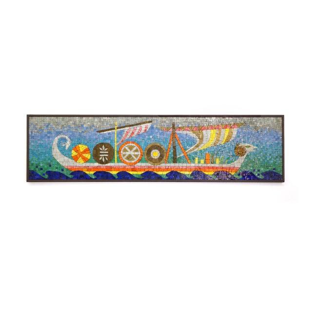 Rare Evelyn Ackerman Mosaic Tile Wall Hanging, Grecian Long Boat Scene - Image 1 of 8