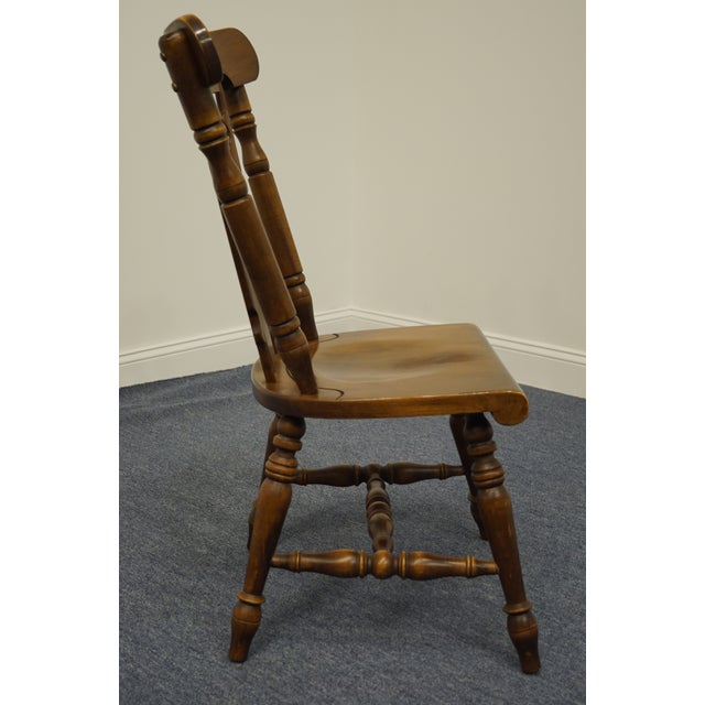 Brown Temple Stuart Solid Hard Rock Maple Colonial Style Splat Back Dining Side Chair 814 For Sale - Image 8 of 11