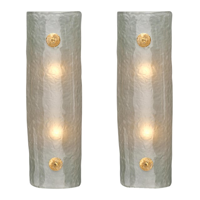 Frosted Light Blue Murano Glass Sconces For Sale
