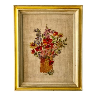 Midcentury Needlepoint Still-Life Wildflower Bouquet For Sale