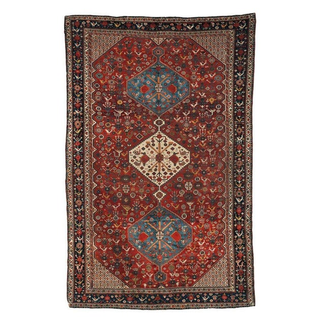 1870s Hand Made Antique Collectible Persian Khamseh Rug 6.4' X 9.9' For Sale