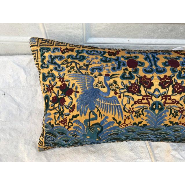 Chinoiserie Gold Silk Crane Boudoir Pillow - Image 4 of 9