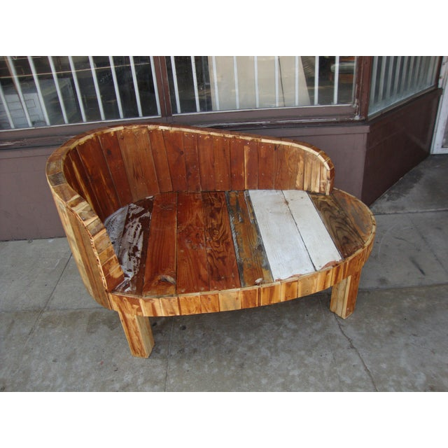"Beautiful hand-made reclaimed wood chaise lounge chair. great for indoor or outdoor. (16"" Seat Height)."