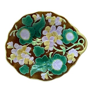 Antique 19th Century English Majolica Geranium Platter For Sale