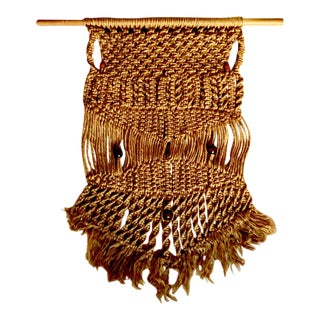 Circa 1970s Large Boho Chic Jute Rope Macrame With Wooden Beads For Sale