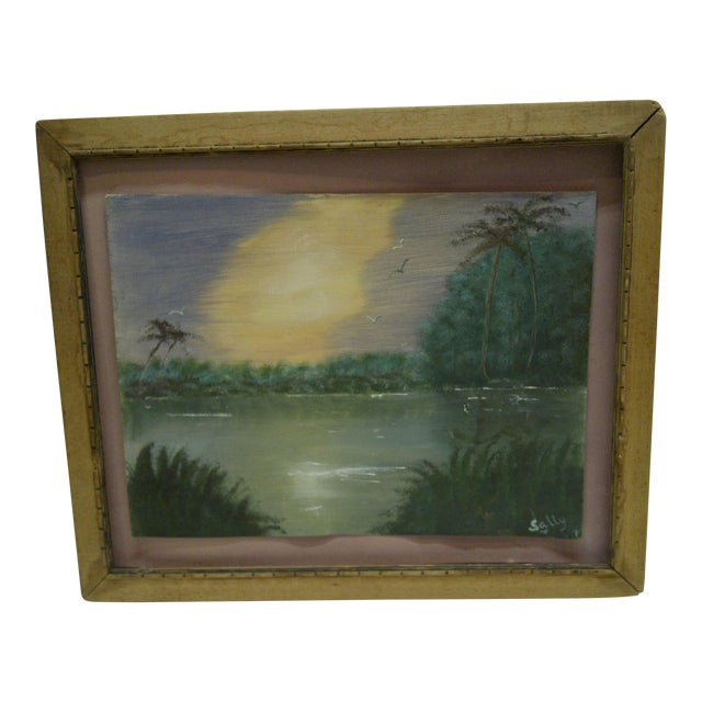 "Original Painting on Paper - ""Sunset"" by Sally, 1940 - Image 1 of 6"
