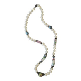 Pearl Necklace With Ceramic and Sterling Silver Beads For Sale