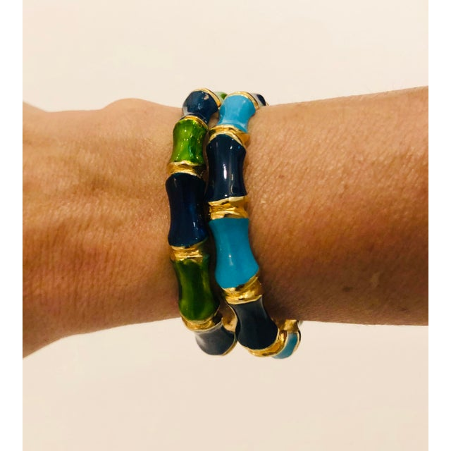 Mid-Century Modern 1980s Bamboo Shaped Enameled Bracelets - a Pair For Sale - Image 3 of 7