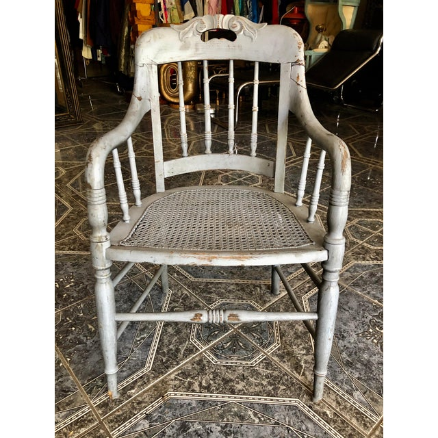 1940s Vintage Shabby Chic Lilac Wood and Cane Accent Chair For Sale In Sacramento - Image 6 of 13