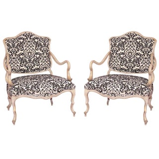 Pair of Vintage Italian Hollywood Regency Carved Wood Low Boudoir Chairs Black White Damask For Sale
