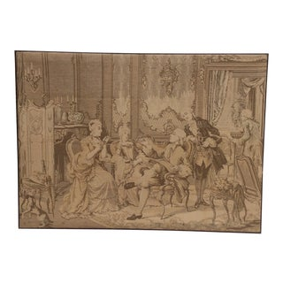 Antique Belgian Tapestry Panel Mounted in Frame For Sale