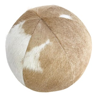 Forsyth Palomino & White Cowhide Ball Pillow For Sale