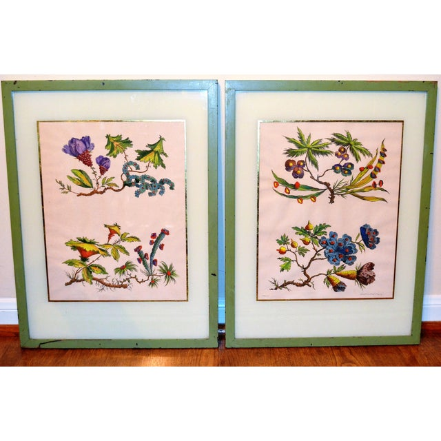 French Chinoiserie Hand Colored Floral Prints - Image 2 of 11