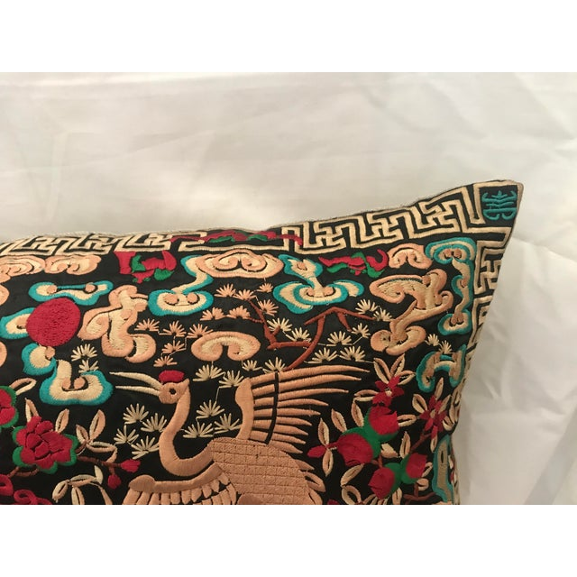 Hollywood Regency Black & Gold Silk Embroidered Chinoiserie Boudoir Lumbar Pillow For Sale - Image 4 of 9