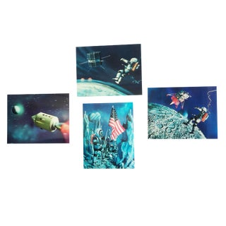 Lenticular Animation Moon Landing Astronaut Prints From 1966 - Set of 4 For Sale