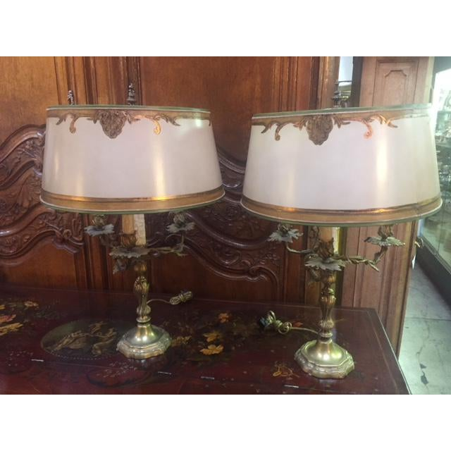 Early 20th Century Antique French Bronze Candle Lamps - A Pair For Sale - Image 12 of 12