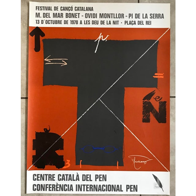 """Artist - Joan-Pere Viladecans Title - Exhibition Poster Medium - Lithographic Print Year - 1978 Dimensions - 22"""" x 30""""..."""