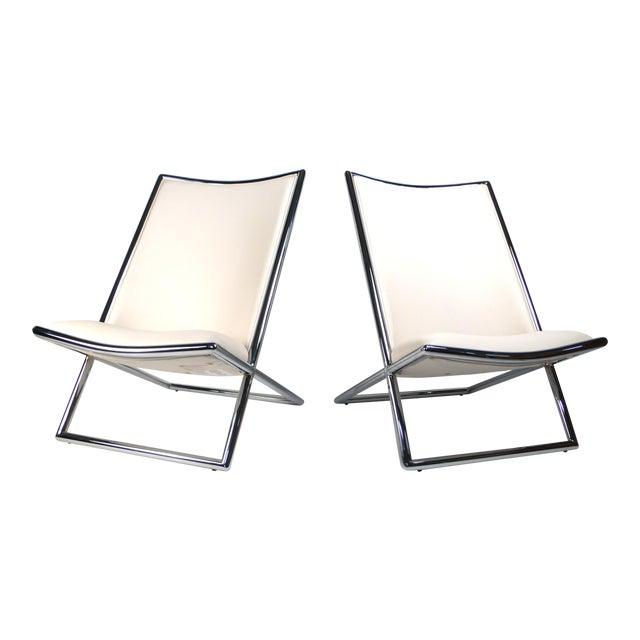 Scissor Lounge Chairs by Ward Bennett For Sale