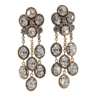 Amazing Vintage Chanel Rhinestone Pendant Earrings For Sale