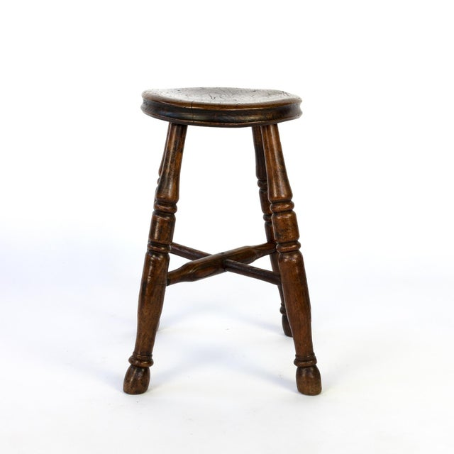 Round Fruitwood Work Stool With Four Turned Legs, Circa 1870 For Sale - Image 4 of 6