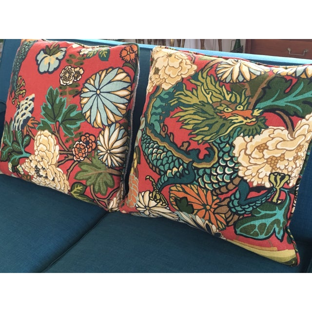 Schumacher Chiang Mai Dragon Pillows - A Pair - Image 3 of 8