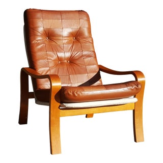 Swedish Mid-Century Modern - MCM Plywood and Leather Patchwork Lounge Chair For Sale