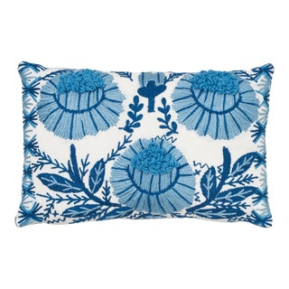 Schumacher Marguerite Embroidery Pillow in Sky For Sale