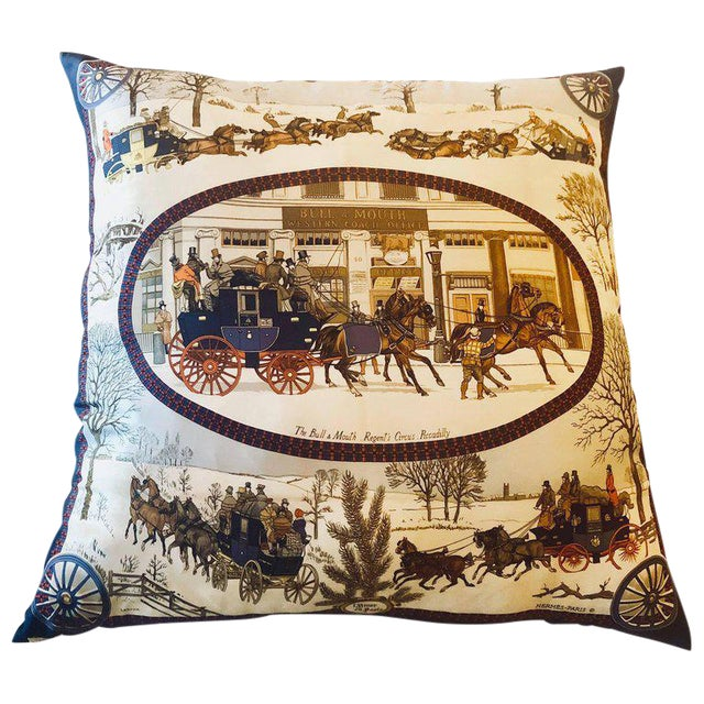 Hollywood Regency Style Hermes 'The Bull and Mouth Regents Circus' Silk Pillow For Sale - Image 12 of 12