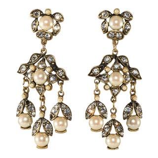 Hobe' Earrings Faux Pearl Rhinestone Dangles Drops Vintage For Sale