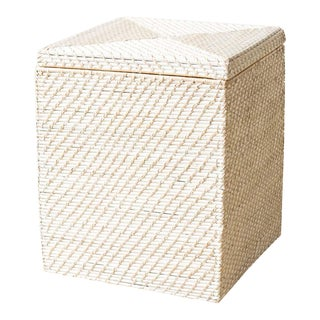 Square Rattan Whitewashed Basket For Sale