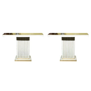 Jansen Painted & Eglomise Console Tables Glass Atop White Painted and Parcel Gilt Frieze - a Pair